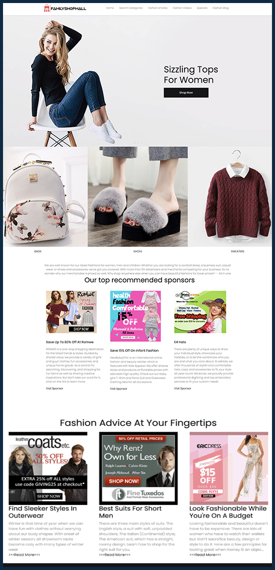 shopping mall website business for sale