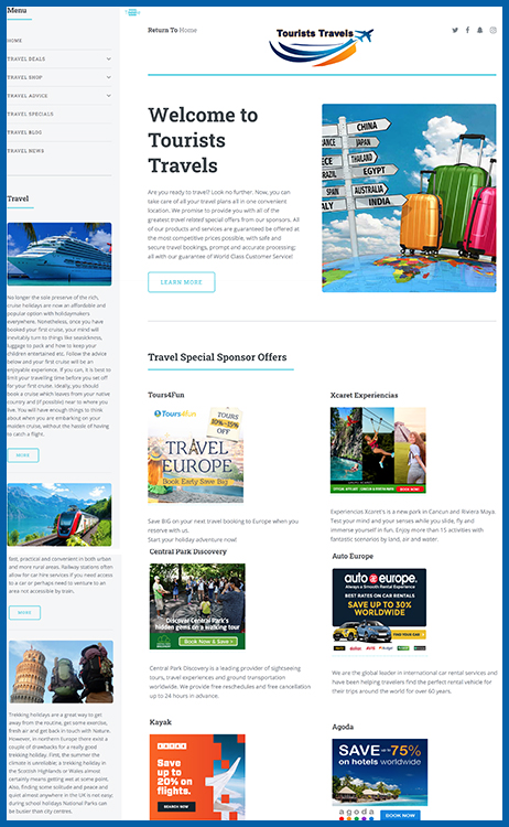 travel website business for sale